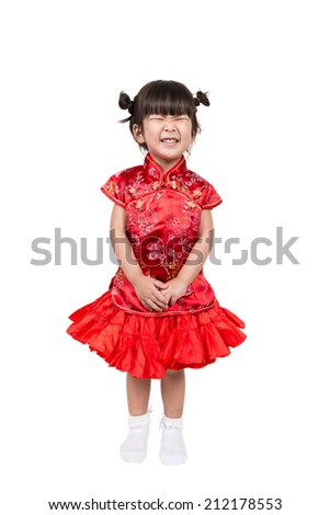 Happy Asian baby girl in red Chinese suit - stock photo