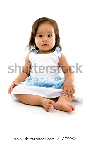 Happy asian baby on white background . - stock photo