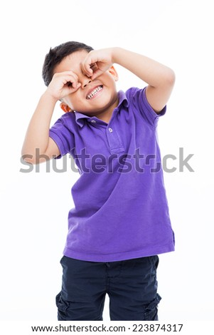 Happy Asian boy isolated on white background.  - stock photo