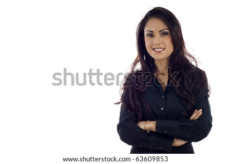 Happy Asian business woman, a lot of copyspace, isolated over white background - stock photo