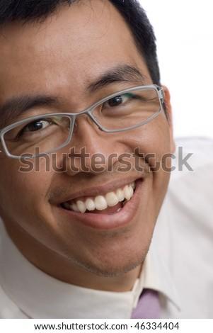 Happy Asian businessman portrait on white background,closeup. - stock photo