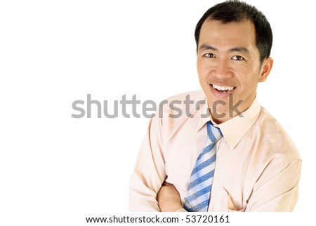 Happy Asian businessman smile portrait on white background. - stock photo