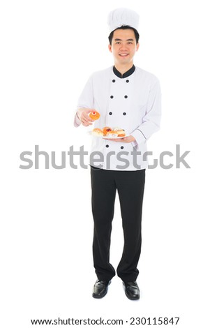 happy asian chinese male chef - stock photo