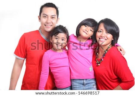 happy asian family - stock photo