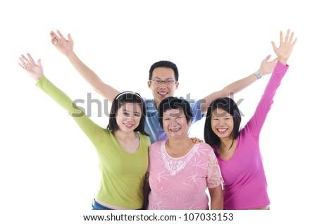 happy asian Family isolated on white background - stock photo
