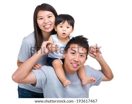 Happy asian family with baby son - stock photo