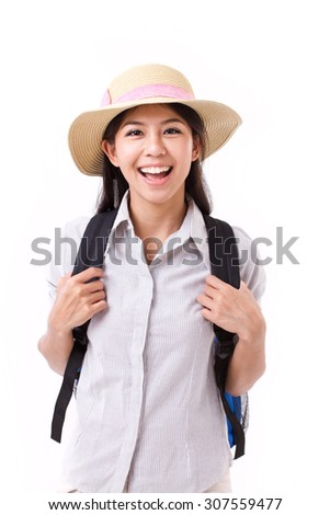 happy asian female traveller isolated - stock photo