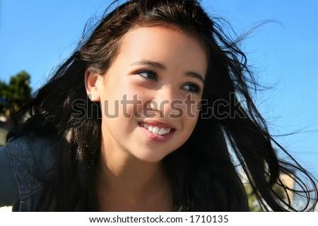 Happy asian girl - stock photo