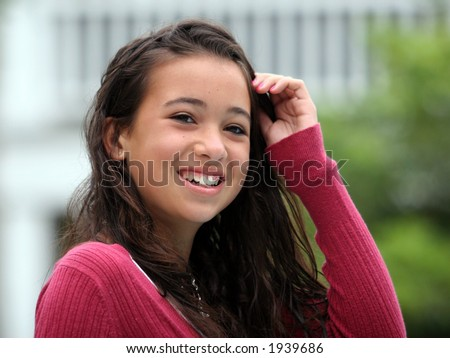 Happy asian teen girl  smiling - stock photo