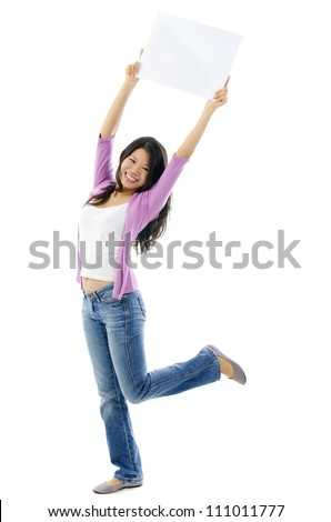 Happy Asian woman holding blank sign above her head. Full length on white background. - stock photo