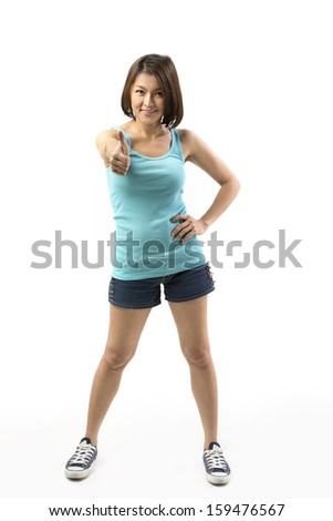 Happy Asian woman with both thumbs up in approval. Isolated on white background. - stock photo