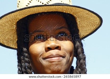 Happy attractive african girl, Madagascar - stock photo