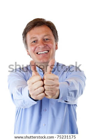 Happy, attractive senior man shows both thumb and smiles. Isolated on white background. - stock photo