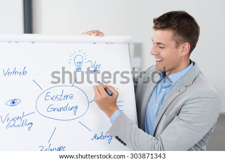 Happy Attractive Young Businessman Making a Conceptual Business Diagram on White Poster - stock photo