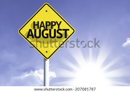 Happy August road sign with sun background  - stock photo