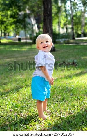 Happy Baby Boy at the Summer Park - stock photo