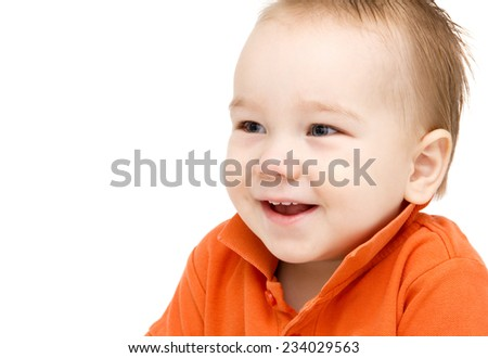 Cute newborn baby boy posing for camera adorable Stock ...