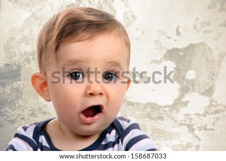 happy baby boy, studio photo session - stock photo