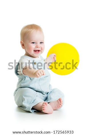 Happy baby boy with yellow ballon isolated on white - stock photo
