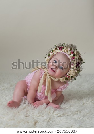 Happy Baby Girl Wearing Hat - stock photo