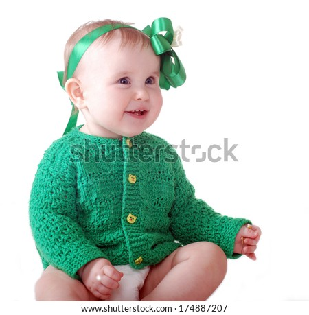 Happy Baby Girl with bow in her hair - stock photo