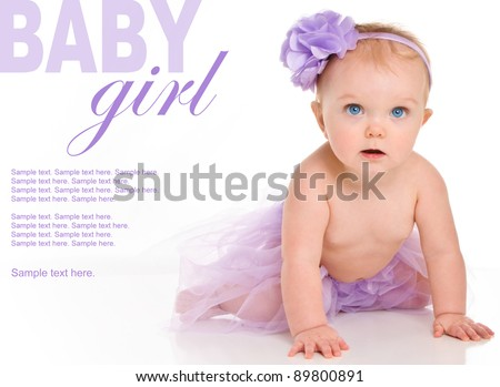 Happy Baby Girl with Text Space to the left - stock photo