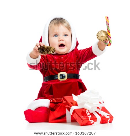 happy baby in Santa Claus clothes - stock photo