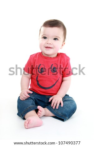 Happy baby isolated on white - stock photo