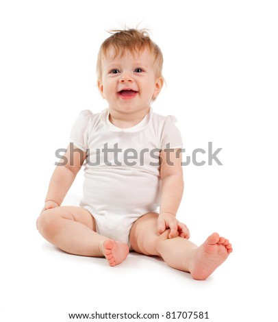 Happy baby isolated on white - stock photo