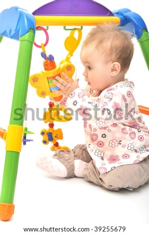 Happy baby playing - stock photo