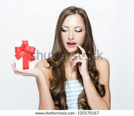 happy beautiful christmas woman with christmas gifts  , christmas shopping , sales - stock photo