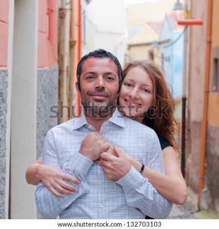 Happy beautiful couple, square image - stock photo
