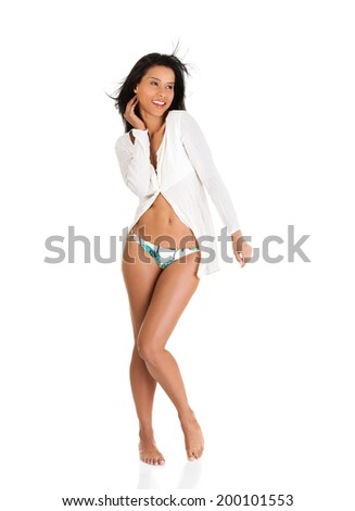 Happy beautiful excited summer woman - stock photo