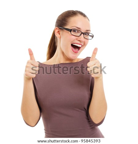 Happy beautiful girl in stylish black glasses showing thumb up symbol by two hands. Isolated on white background, mask included - stock photo