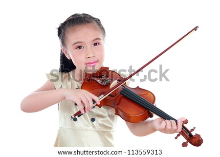 Happy beautiful girl with violin isolated on white background - stock photo