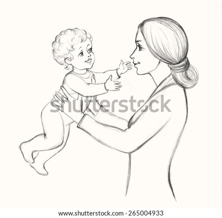 Happy beautiful pretty smiling young mama holds in hands funny curly cute carefree baby laughing. Monochrome freehand drawn background sketch in art scribble style pencil on paper with space for text - stock photo