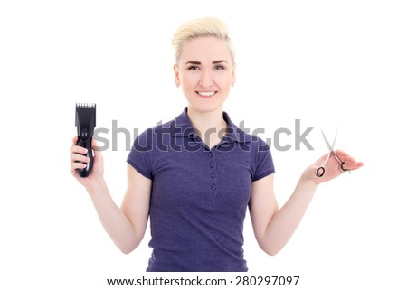 happy beautiful woman hair stylist with hair trimmer and scissors isolated on white background - stock photo
