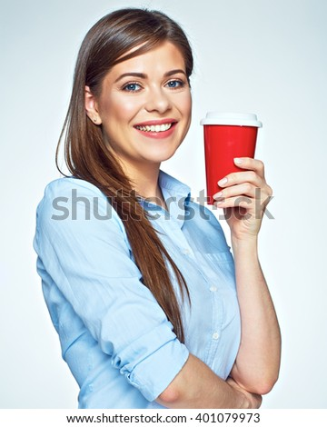 Happy beautiful woman holding red coffee cup. White background isolated. - stock photo
