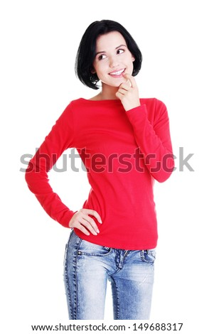 Happy beautiful woman in casual clothes, isolated on white background - stock photo