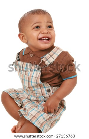 happy big smiling 1-year old baby boy portrait on isolated white - stock photo