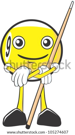 Happy Billiards Nine Ball Player Illustration - stock photo