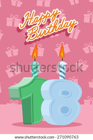 Happy Birthday. Announcement and Celebration Message Poster, Flyer Flat Style Age 18 - stock photo