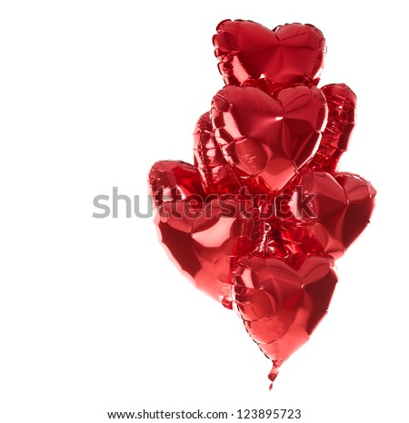 Happy birthday balloons heart love party decoration red . Valentines day . - stock photo