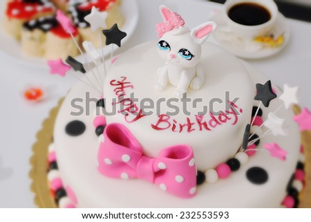 Happy Birthday cake for Children's party - stock photo