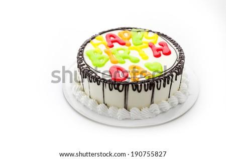 Happy birthday cake isolated on white - stock photo