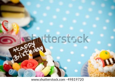 Happy birthday cakes. Celebration collection. - stock photo