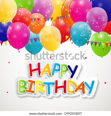 Happy Birthday Card  Illustration.  - stock photo