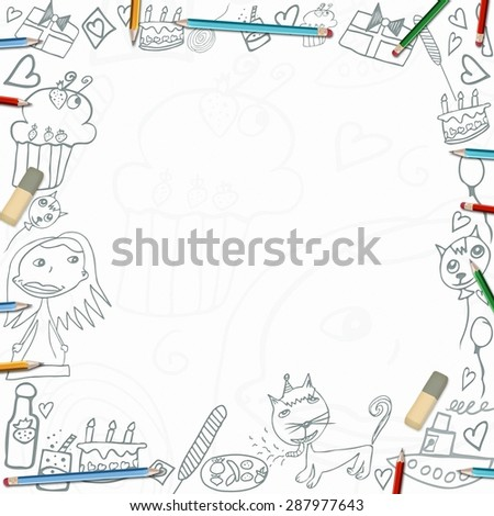 Happy Birthday childish sketches frame illustration isolated on white background - stock photo