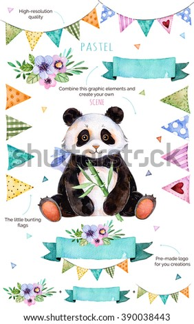 Happy Birthday collection!Pattern with individual elements for your own design:flowers,bunting flags,cute panda,bouquets,garlands,ribbons,Perfect for birthday cards,mother's day,baby cards,invitation - stock photo