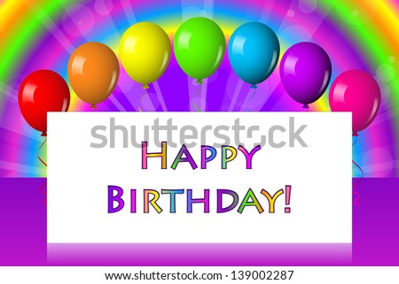 Happy birthday frame with balloons - stock photo